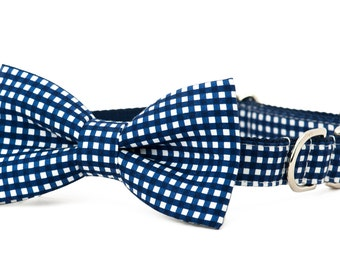 Crew LaLa™ Navy Colorblock Gingham Bow Tie Dog Collar