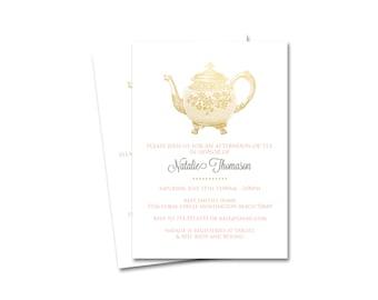 CUSTOM Bridal Shower Invitation- Vintage Tea Party