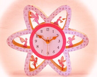 3D SVG Flower Clock with Fairies Digital Download