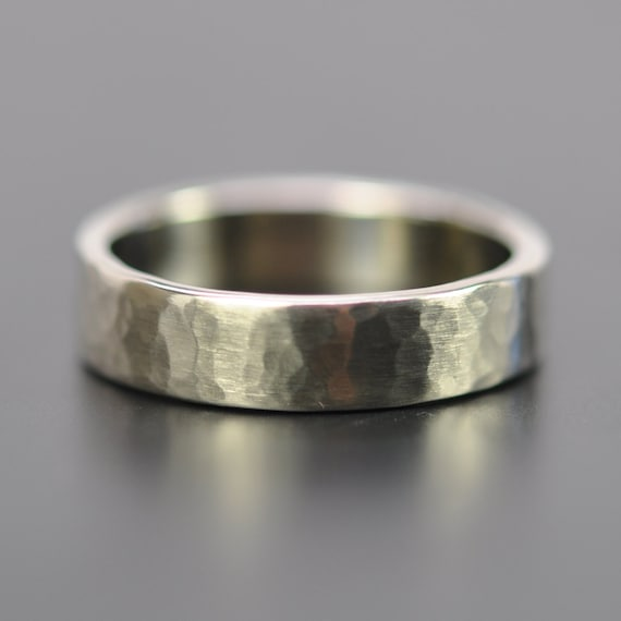 Mens 5mm White Gold Hammered Wedding Band 14K Palladium