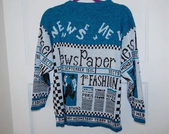 Vintage 80s newspaper fashion theme knit sweater M / L
