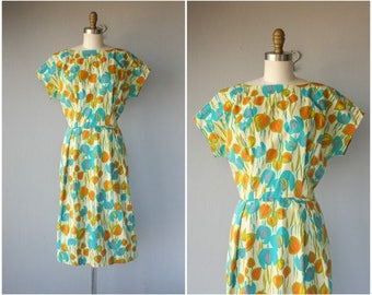 Vintage 1960s Dress • 60s Day Dress • 1960s Floral Print Dress • 60s Wiggle Dress • 60s Floral Dress • 50s Dress -  (large)