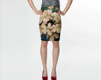 Peach Flowers Floral - Fitted Skirt - Pencil Skirt - Knee Skirt -  XS S M L XL - Women's Skirt Clothing