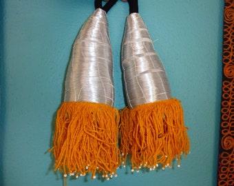 One Pair of Silver Tribal Tassels, Tashqorgani Tassel