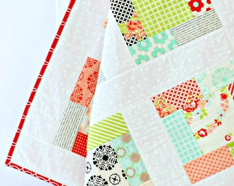 Coral Baby Girl Quilt ~ Patchwork Quilt ~Baby Play Mat ~ flowers baby shower gift baby gift handmade patchwork baby blanket black baby quilt