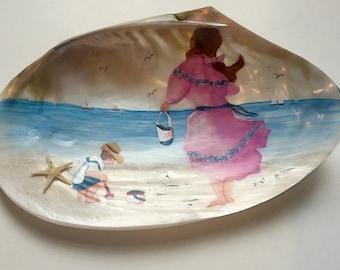 Hand painted Victorian Seashore Scene on Shell