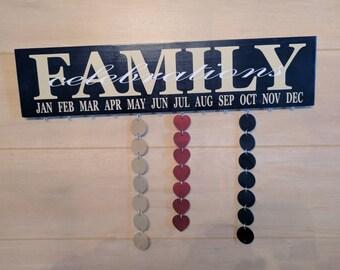 Family celebrations board *** navy board with beige font white celebration***