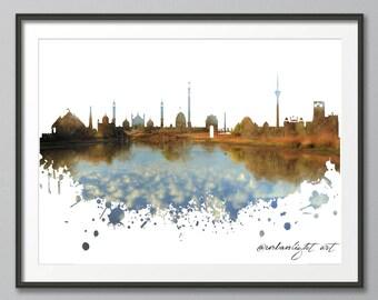 India Skyline, New Delhi Skyline, Urban Silhouette, Architecture, Cityscape, Art Print, Poster, Modern Art, Painting