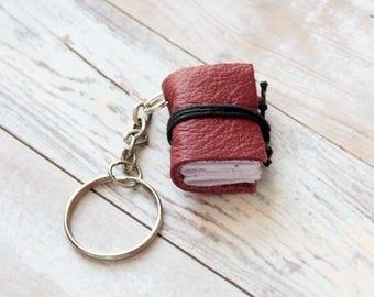 Book keychain, leather keychain, miniature book charm, graduation literature jewelry, key accessory, men women keychain, leather journal