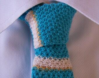 Hand Knit Tie, Turquoise Tie, Knitted Tie, Skinny Tie, Striped Tie, Knit Necktie, Blue Tie, Cotton Tie, Retro Tie, Vintage Inspired Necktie