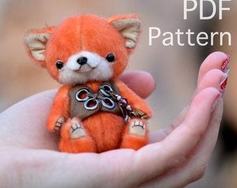Miniature fox pattern,  Fox Sewing Pattern, Mohair Fox PDF, Stuffed Animal Pattern, Fox Plushie, Diy Stuffed Animal Tatiana Scalozub
