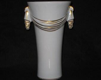 Abingdon Pottery Vase/Tall Blue Vase/Vintage Art Deco Abingdon Vase/P133 Pottery Vase/Light Blue Gold Porcelain Vase Urn