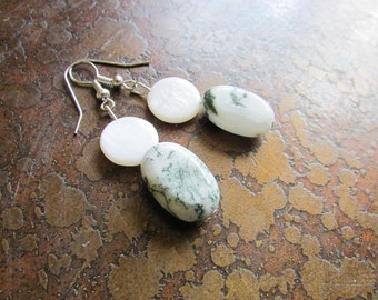 Fresh Mother of Pearl and Tree Agate Beaded earrings