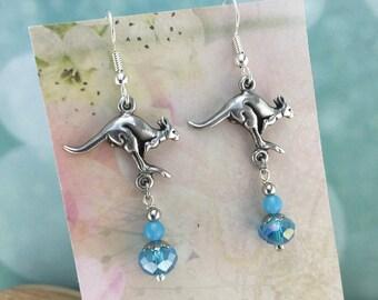 Kangaroo Australian Souvenir, Blue Crystals, Australian Made Jewellery Gift, Australian Seller, Australian Earrings, Australian Jewellery