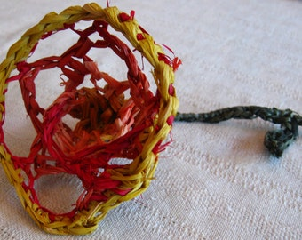 Red, Orange and Yellow Crocheted Raffia Rose in Bloom