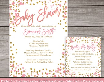Pink and Gold Baby Shower Invitation - Printed Invitations - Pink and Gold Glitter Baby Shower Invites Baby Girl  244