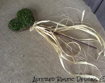 Wedding wand/ flower girl wand/ rustic wedding wand/ rustic wand/ rustic wedding/ woodland wedding/wedding decor moss wand/moss wedding wand
