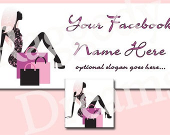 Purple Pink Shopping Lady Gift Bags Facebook Timeline Cover - Profile Photo - Cover Photo