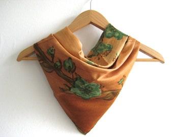 Vintage Scarf 1950's Silky Orange Green Flower Vintage Scarf Tie Up Headscarf 1950's