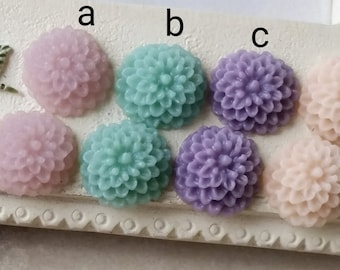 10 mm Little Resin Dahlia Flowers of Assorted Colors (.am) (zzb)