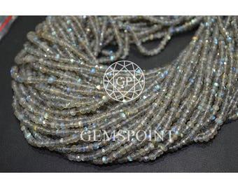 Natural Labradorite 3.5mm Faceted Roundels, 13 inch Strand, Labradorite Rondelle Beads (R-LAB-0033)
