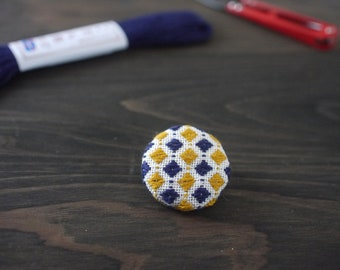 Japanese Kogin-sashi brooch, embroidery brooch, hand stitched accessory, navy and mustard yellow