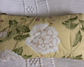 Yellow and Green Large Quilted / Zipped Cosmetics Toiletry Bag with English Floral Sanderson Fabric