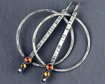 Big Silver Hoops, Hammered Silver Hoops with Gemstones, Statement Earrings in Garnet + Citrine, Labradorite + Topaz, or Topaz + Peridot