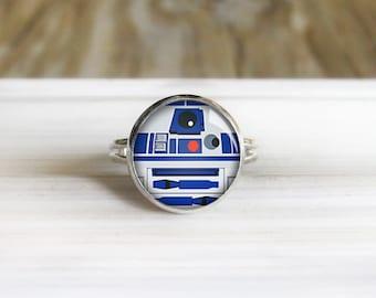 R2-D2 Ring -  Star Wars - Adjustable Silver Ring