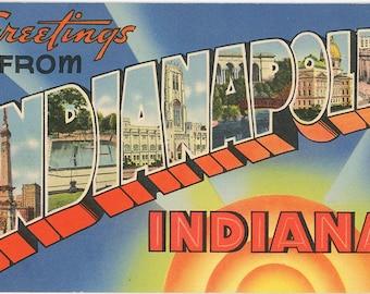 Indianapolis Indiana Large Letter Vintage Greetings Postcard (unused)