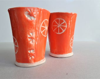 Stoneware tangerine sgrafitto ceramic tumblers, handmade orange pottery espresso cup drinking glasses 200ml 6oz cup, set of 2, Mother's day