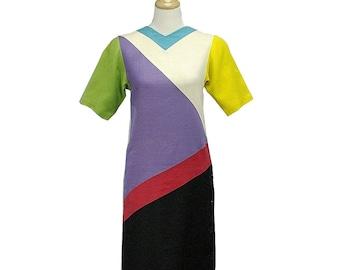 Vintage 80s Designer Mollie Parnis Color Blocked Linen Dress, Sz Sm 4 6