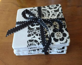 Black and White lace coasters
