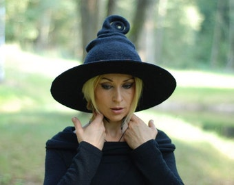 Witch hat wizard hat black felted hat from wool Halloween costume witch costume larp hat cosplay CUSTOM MADE choose your own colors