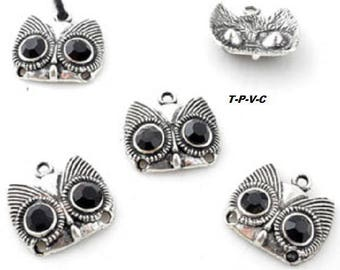 Set of two metal pendant/in-between, owl with Rhinestone ± 19x21mm (eyes ± 2mm and 1, 5 mm)