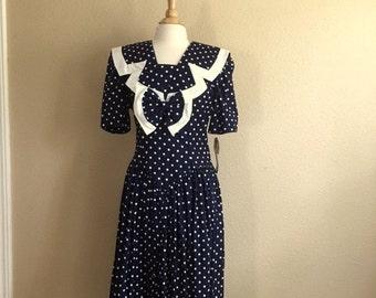 Vintage DEADSTOCK Navy & White POLKA Dot BOW Dress / 80s Kate Warner / Womens Medium Large