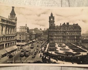 vintage postcard, vintage cards, vintage princes street edinburgh postcard, Edinburgh postcard, princes street edinburgh