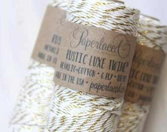 Gold Metallic Rustic Luxe Twine 100 Yards, Craft Supplies, Gift Wrap, Metallic , Rustic Bakers Twine, Gift Packaging, Gold Glitter Twine
