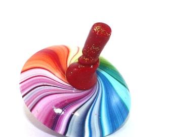 Rainbow Dreidel gift round spiral jewelry spinning top kids toy, unique Chrismukkah stocking stuffer, original design polymer clay beads