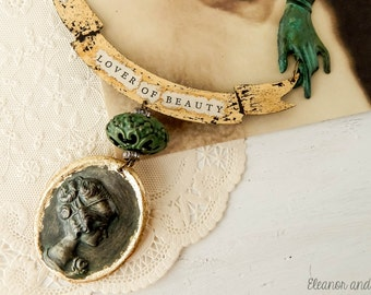 Lover of beauty vintage assemblage necklace / banner necklace / victorian / gold leaf / assemblage jewelry / eclectic jewelry / avant garde