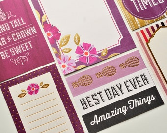 Purple & Gold Journaling Cards // Set of 9 // Planner Cards // Project Life // Scrapbooking // Gold Foil // Planner Accessory