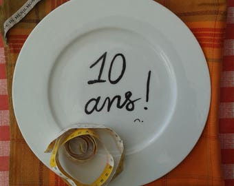 Ten years! Personal message on your plates