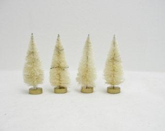 3 inch natural sisal tree, bottle brush tree, white bottle bush tree set of 4
