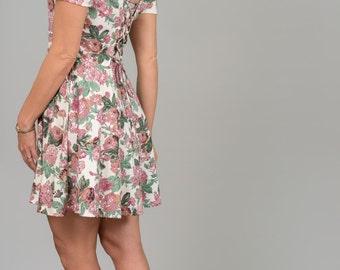 Vintage Victorian Rose Tie Back Mini Dress (Size Small/Medium)