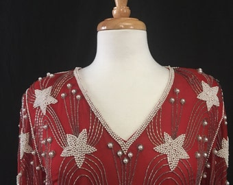 Red Star Beaded Vintage Dress