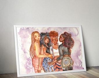 African American Art | Black Girl Magic | Home Decor | Natural Hair Art
