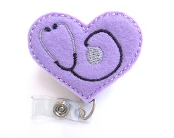 Badge Holder Retractable - Heart with Stethoscope - light purple felt - nurse badge reel doctor EMT RN medical badge reel