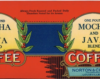 Original vintage Tin Can label 1920s Mocha & Java Blend Coffee Louisville Kentucky General Store Typography Norton