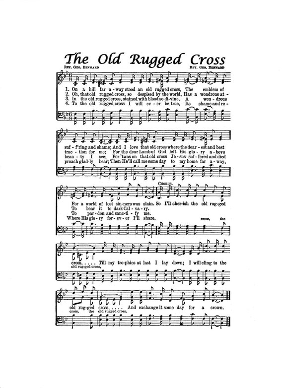 The Old Rugged Cross Hymn Digital Sheet Music Easter Christian Inspirational Jesus Grace Art Gift Do It Yourself Faith Grandmother Dad