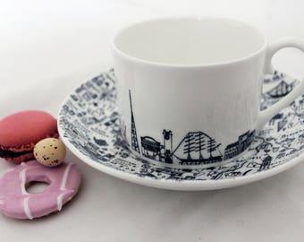 South East London teacup & saucer set - Fine Bone China